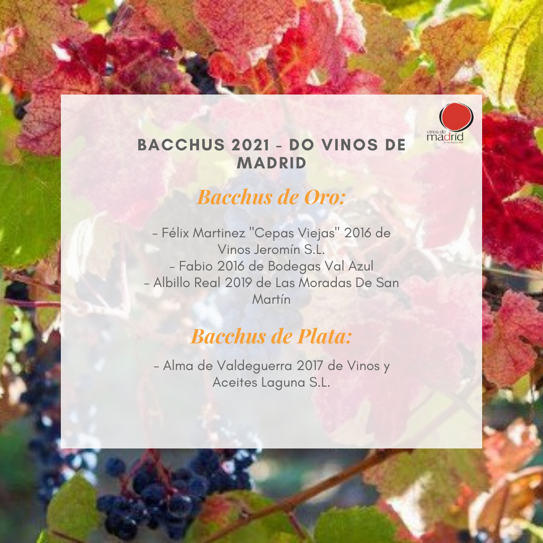 Cuatro vinos de Madrid, galardonados en el concurso internacional Bacchus 2021